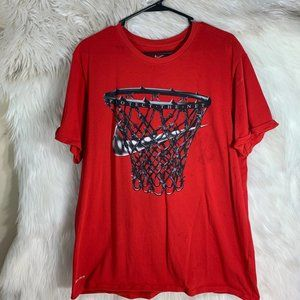 Nike Check Basketball T Shirt Size Large Red